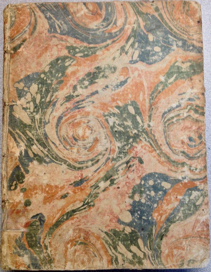 Manuscript Institutions au droit  françois (1715) in 18th century marbled paper
