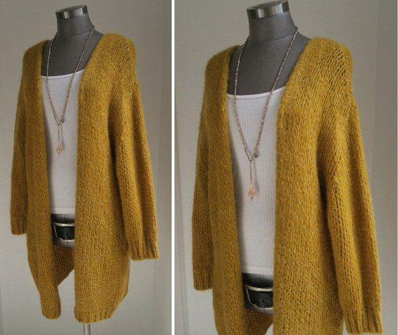 Oversized cardigan, boho knitwear, knitted coat maize yellow