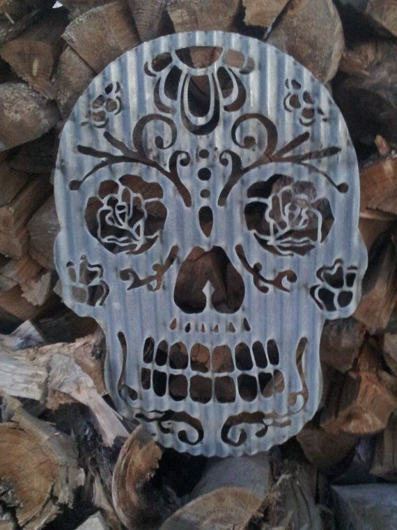 Up-cycled old Corrugated Metal Sugar Skull Day of the Dead ...