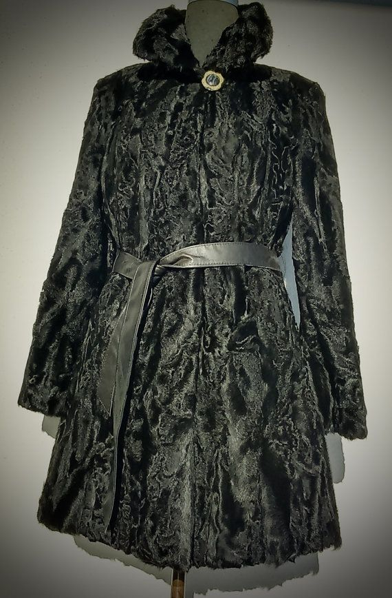 ^^^ Free international shipping ^^^    A brand new handmade black karakul fur coat. It is lined with inner lining and has inner hooks and loops to
