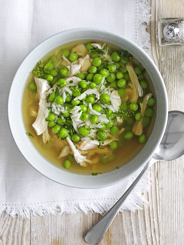 This super-quick chicken and pea broth recipe is ready in 15 minutes and is under 300 calories - perfect for a midweek meal.