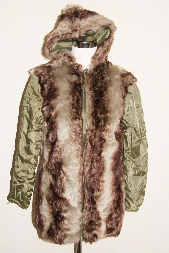 Parka Style Coat With Fur Trim On Front Back And Hood Size Small To Medium #Unbranded #Parka