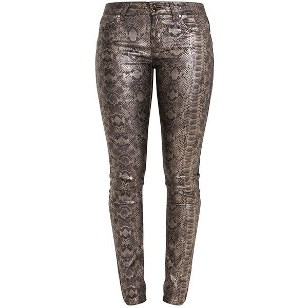 Sadie Pewter Metallic Snake Print Skinny Trousers (2.045 RUB) via Polyvore featuring pants, snake print pants, brown pants, brown trousers, metallic trousers и skinny pants