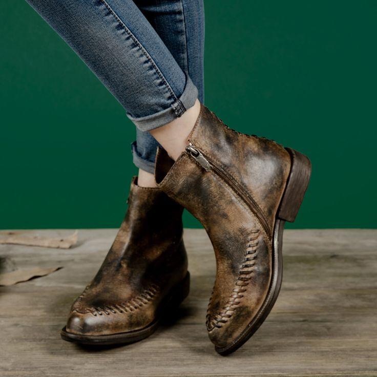 Личность женщины короткие сапоги старинные обувь из натуральной кожи острым носом 2017 зимние сапоги плетеный cut лодыжки кожаные сапоги