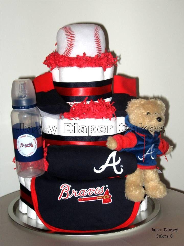 Atlanta Braves Diaper Cake www.jazzydiapercakes.com- Take notes my friends! I love this!!!! :)