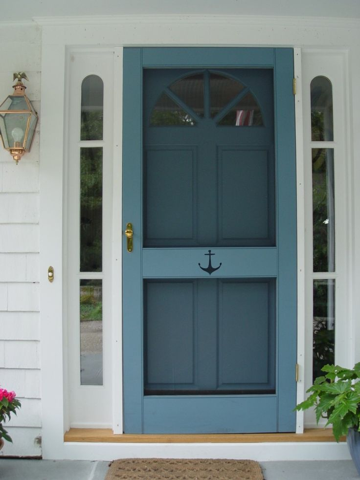 a security and storm door in blue color without viewable screen but sidelight features
