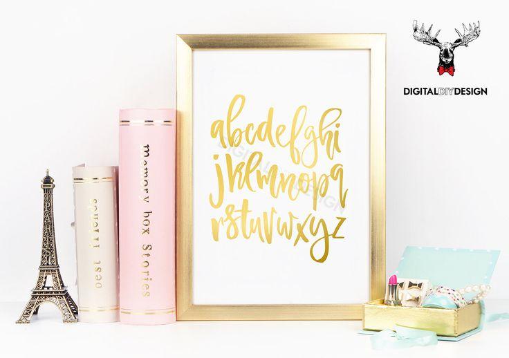Printable alphabet - Typography wall art print - Instant download nursery decor gold art print, printable kids nursery art in script font by DigitalDIYDesign on Etsy