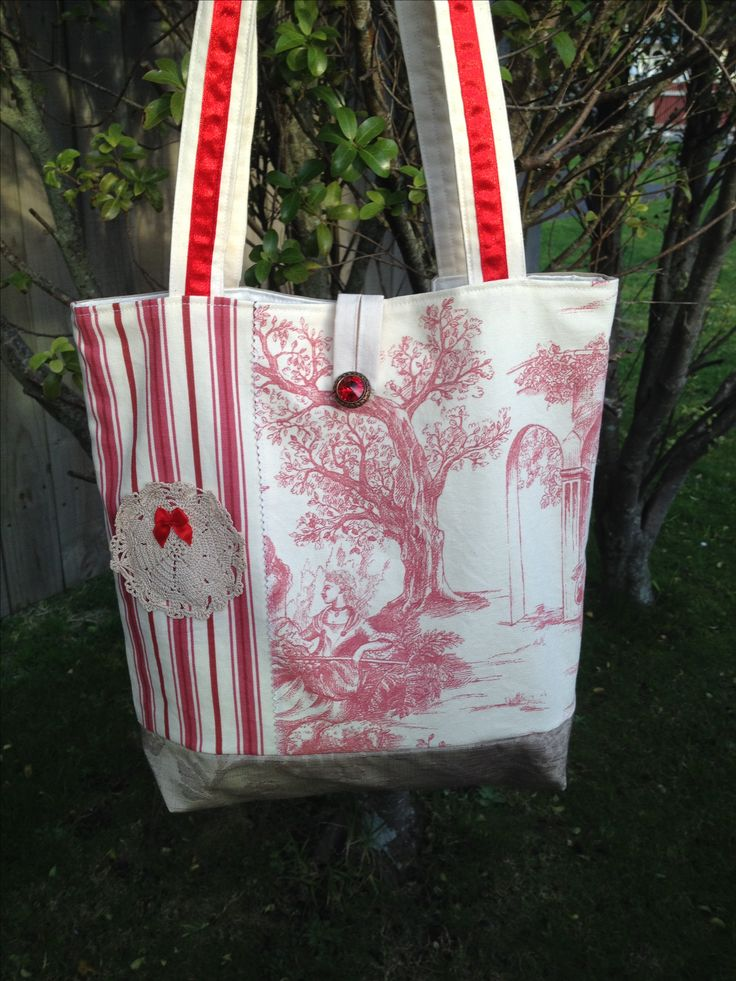 Market tote bag. Ruby Rose. #toile de juoy, # ticking, #vintage doily, #ribbon. Made by Pintrish