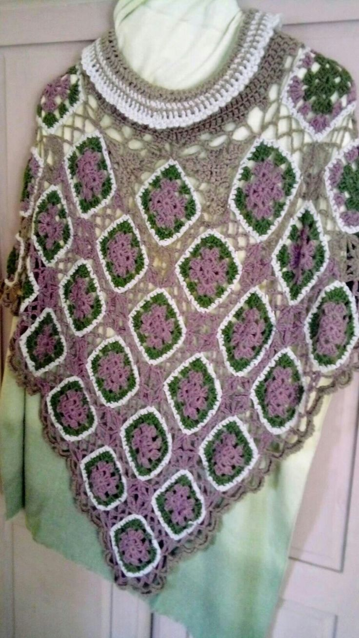 Excited to share the latest addition to my #etsy shop: Ladies/girls lacy poncho in green, dusky pink and light brown, one size fits all, granny square, #clothing #women #onesize #ladies #poncho #crochet http://etsy.me/2mR5oae