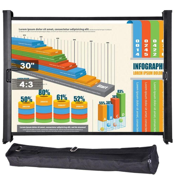 "Tabletop Micro Portable Presenter Projector Screen 30"" 4:3"