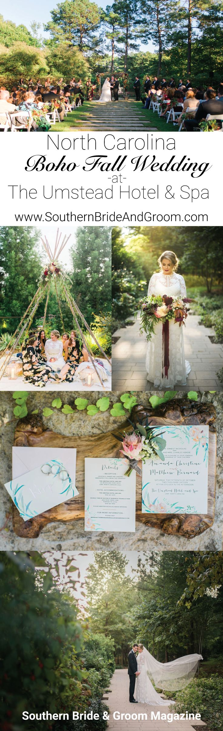 Boho Wedding in Raleigh NC | The Umstead Hotel & Spa | Outdoor Woodsy Nature Filled Wedding in NC | Teepee and Floral Filled Wedding | Burgundy Wedding Colors |  Southern Bride and Groom Magazine | Bohemian Bride | Boho Wedding Dress