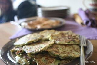 ... Leek Pancakes with Spiced Fillet of Salmon & Creamy Herb Garlic Sauce