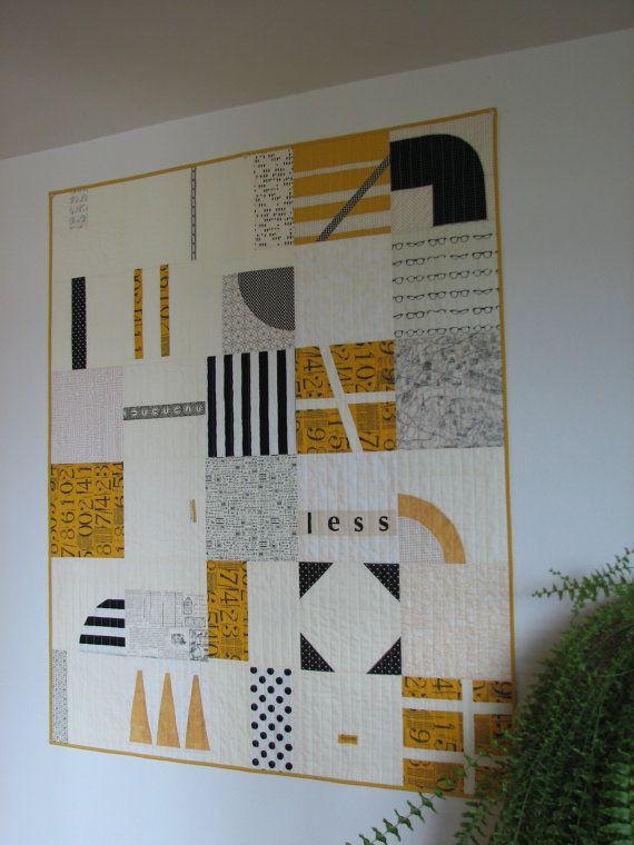 Modern Quilt Art Quilt Lap Quilt Black White and Mustard