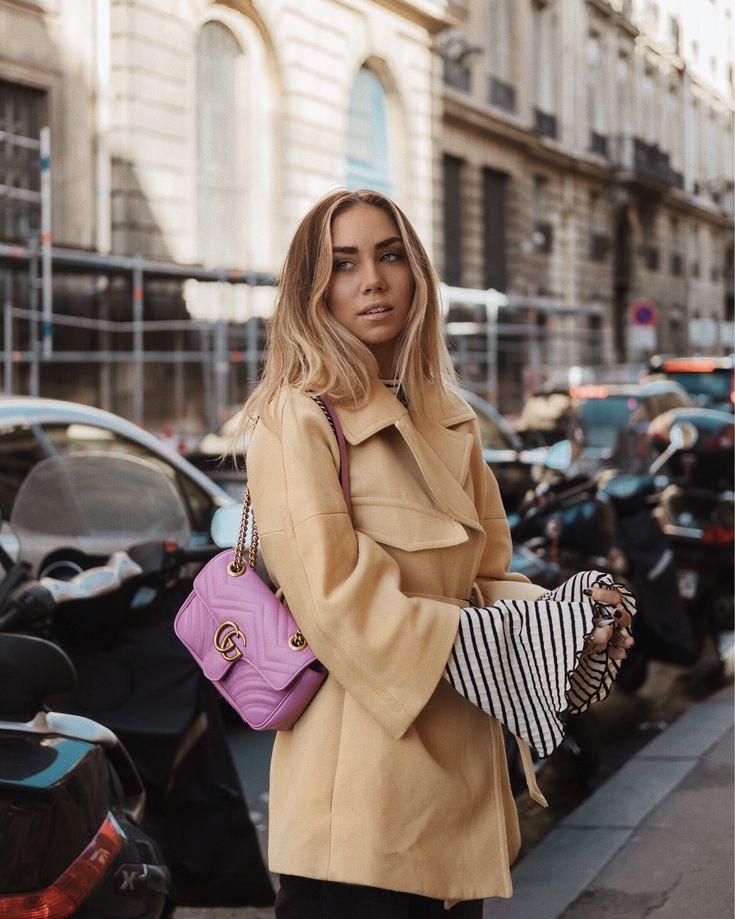 lisa olsson gucci marmont pink yellow coat