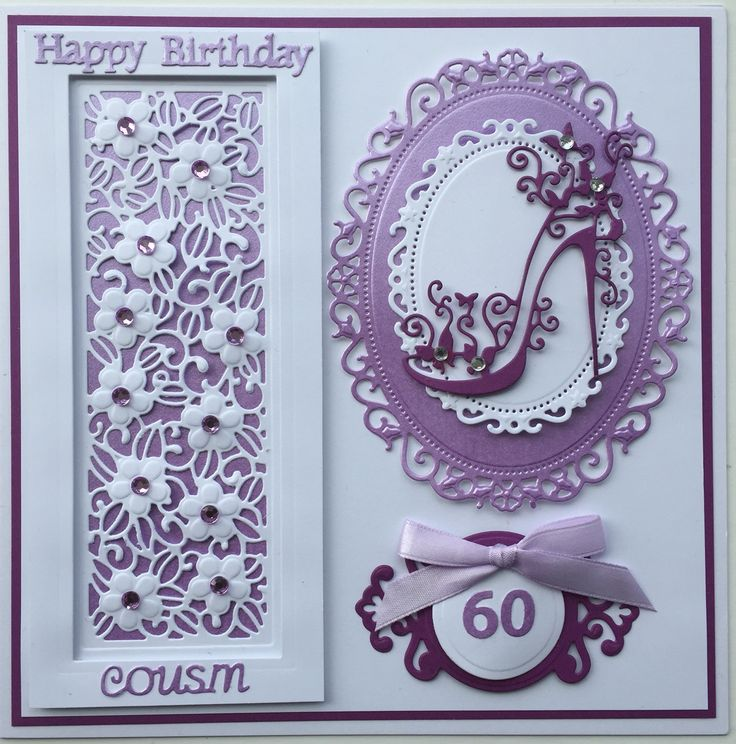 Birthday Card by Sospecial Cards. Sue Wilson panel. Tattered Lace Shoe. Spellinders floral ovals