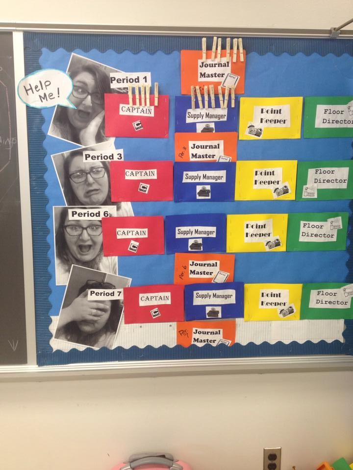 "Classroom Jobs board - Ugly (PLEASE HELP ME) ""Selfies"" of the teacher next to each class period. It encourages students to help the teacher by completing their classroom jobs or else she'll look like this! Middle schoolers found it hysterical!"