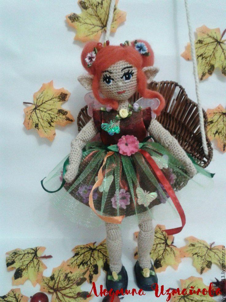 Купить или заказать Кукла. Куколка Эльфочка. Авторская ручная работа. Вязаная кукла в интернет-магазине на Ярмарке Мастеров. Девочка осень . Эльфочка родилась в осенний воскресный день., я нарекла ее именем Амэлдэ, что означает 'вторая' Куколка станет Вам прекрасным подарком , отрадой для глаз и украшением интерьера. Связана из хопковой пряжи. Одежда и обувь ручной авторской работы. Платье , туфельки и крылья снимаются. Ручки и ножки у эльфочки шарнирные снизу и каркасные сверху что п...