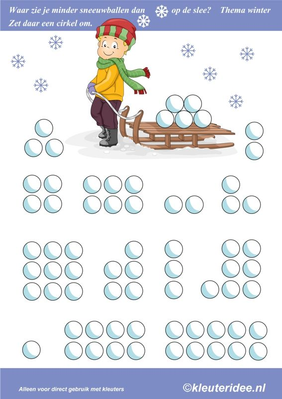 Waar zie je minder sneeuwballen dan op de slee, thema winter, kleuteridee , where you see less than snowballs on the sled, free printable.