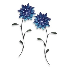metal flower wall art blue bed bath beyond - Metal Flower Wall Decor