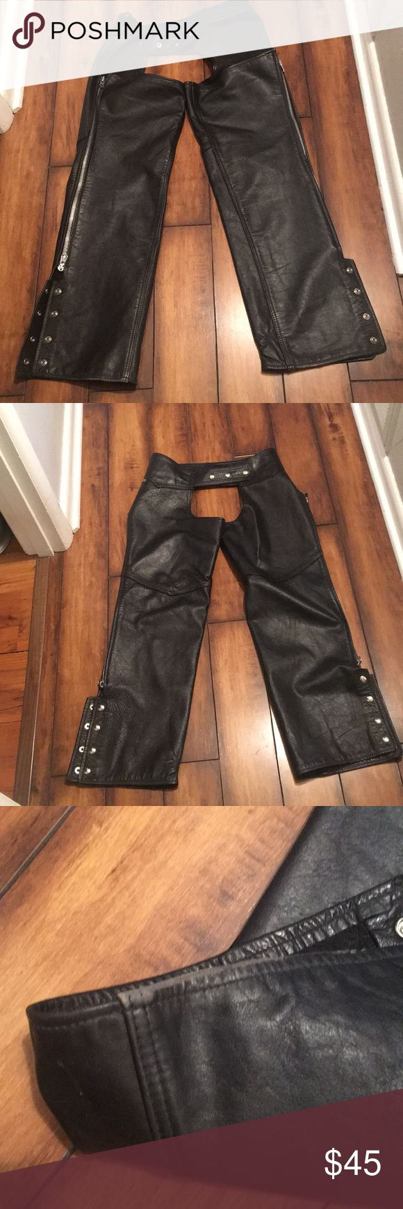 Leather Motorcycle Chaps Very thick high quality leather.  Really good used condition with minor flaws....see pictures.  Flaws only noticeable when pointed out. Scuffing on bottom of pant leg and melted leather patch at bottom on inside right leg.  Measurements 32waist; 24 Top thigh; 30 inseam.  Please make an offer!😁 Reed Sportswear Pants
