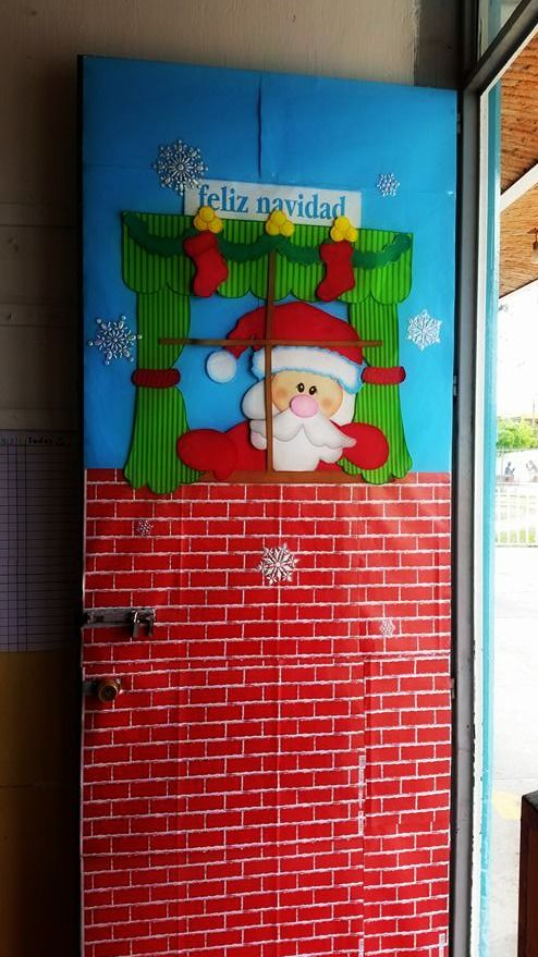 124 best images about puertas decoradas on pinterest for Fotos de puertas decoradas de navidad