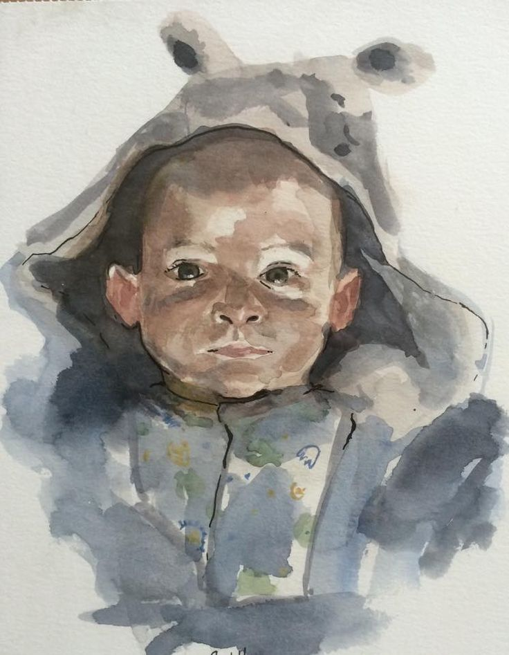 Son Portrait 5 months old (Watercolor on Paper)