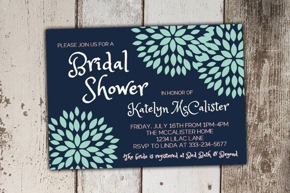 Bridal Shower Invitations Mint and Navy Blossoms by Its4Keeps
