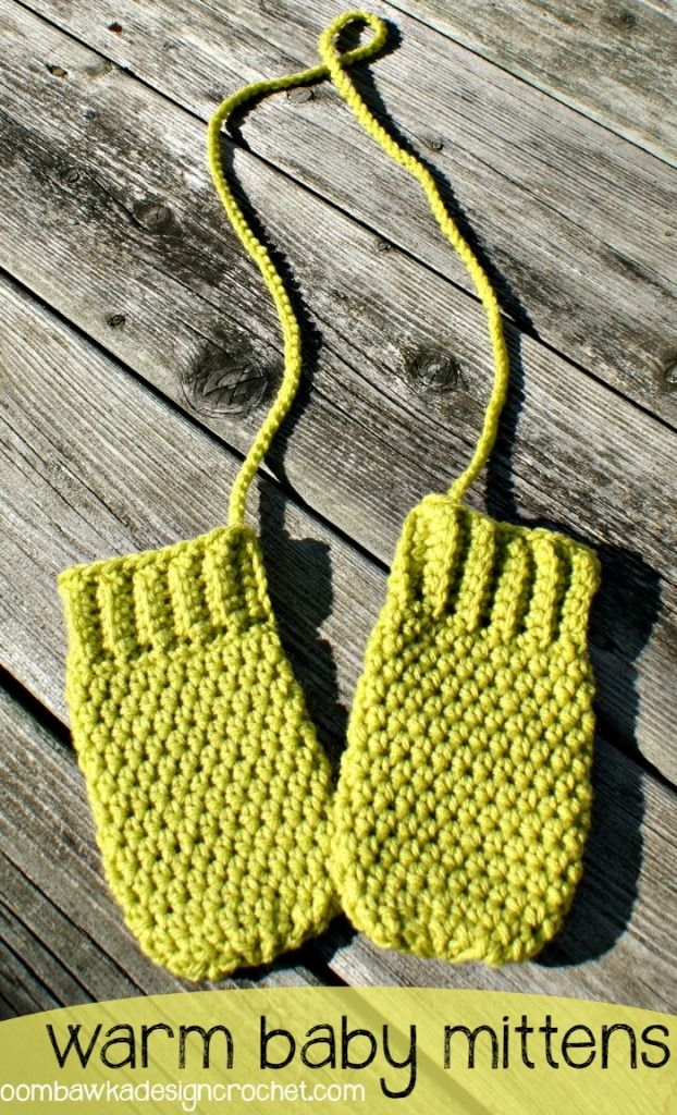 Warm Baby Mittens with cord (three sizes 0-3 mos, 3-6 mos and 6-18 mos) Free Crochet Pattern