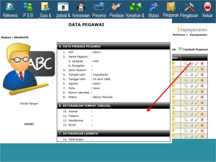 Tampilan untuk proses cetak / print detal data pegawai