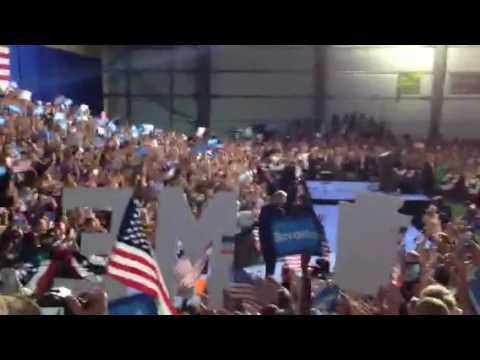 """Bruce Springsteen's """"The Rising"""" plays as Clinton takes the stage in Scranton, PA."""