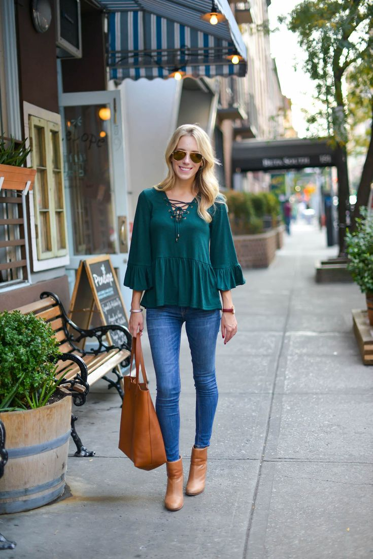 Green Lace-Up Bell Sleeve Top via @katiesbliss