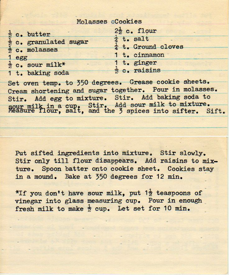 Molasses Cookies--a similar recipe appears in GRACE by Shelley Shepard Gray.
