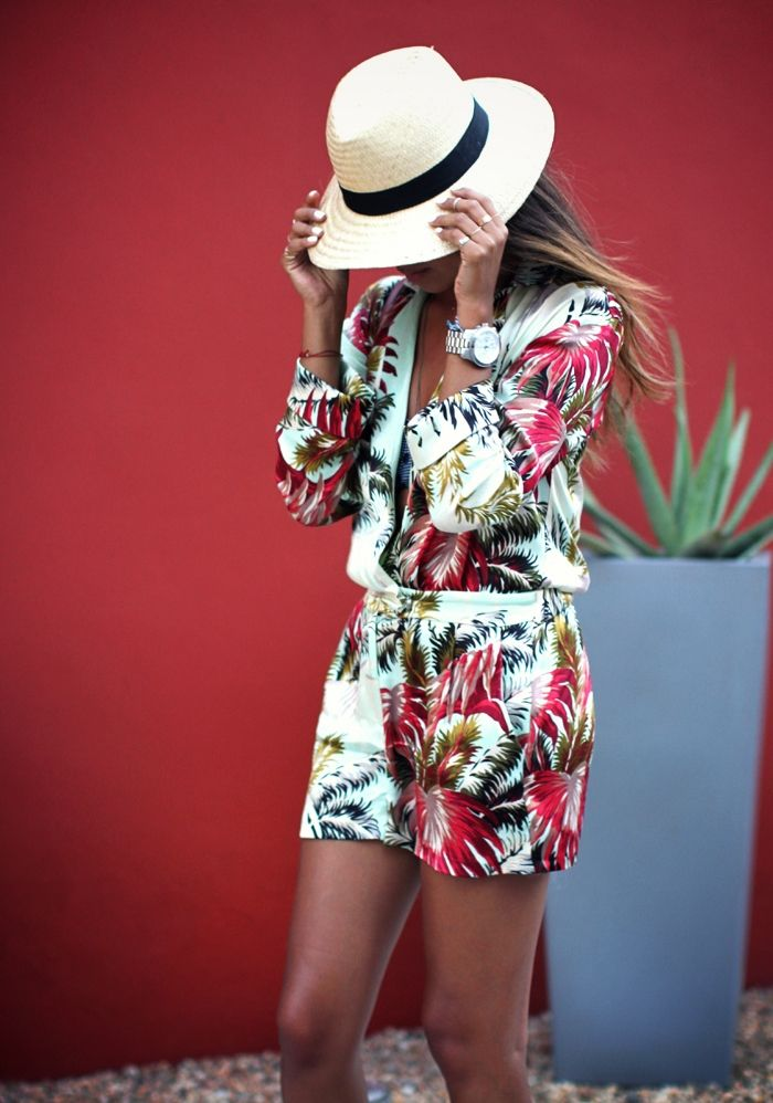 Tropical Topshop jumpsuit. Sincerely Jules. Love her tan!