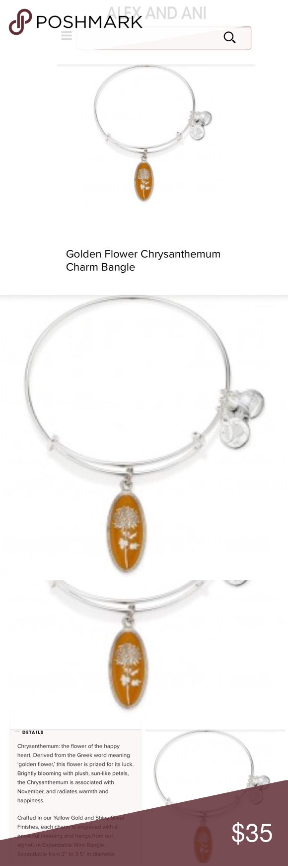NWT Alex & Ani chrysanthemum bangle bracelet NWT Authentic Alex & Ani Golden Flower Chrysanthemum charm bangle in silver finish with expandable wire bangle that goes from 2 in to 3.5 in diameter..beautiful golden yellow flower charm that represents the birth month of November..Chrysanthemum is the golden flower and represents warmth and happiness. Comes with Alex & Ani box..Stock photos pictured with actual bracelet in last pic. Alex & Ani Jewelry Bracelets