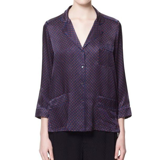 Zara Mulberry Silk Pajama Style top. Just got this in the mail. Feels like heavenly clouds! Can't wait to wear it skinnies & heels!