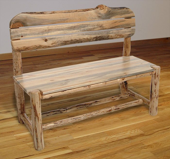 Log benches rustic log furniture mountain hewn bench for Rustic outdoor bench plans