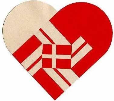 Danish woven heart with flag of Denmark