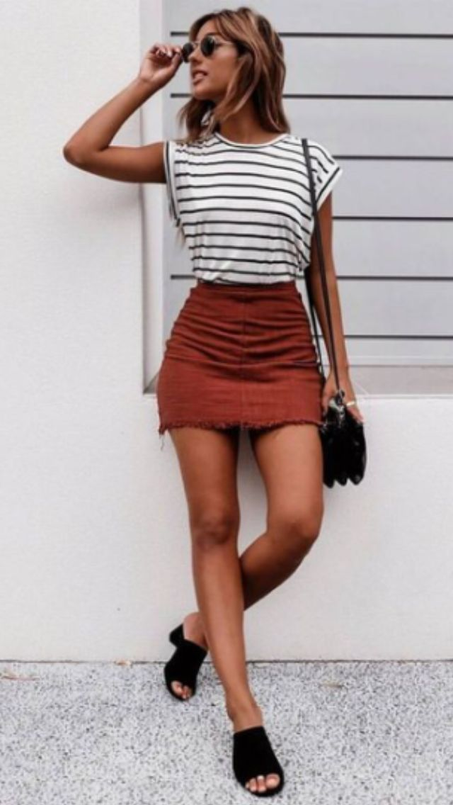d20721287 red corduroy skirt paired with striped tee | Summer Fashion in 2019 ...