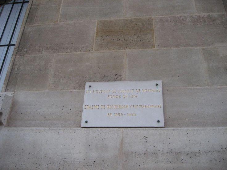 Plaque at Collège de Montaigu, Paris 6 July 2015.jpg