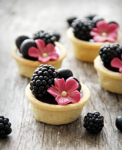 Chocolate Tarts with  Summer Berries