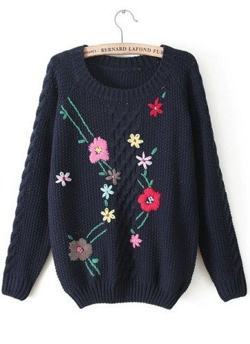 Fast Shipping Navy Long Sleeve Embroidered Cable Knit Sweater | Fashion4you - Clothing on ArtFire