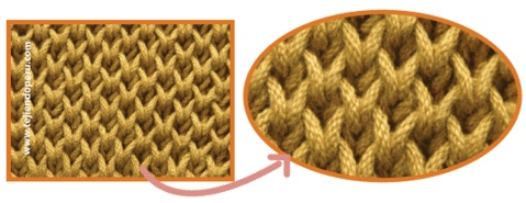 Punto brioche doble (double brioche stitch), no reversible