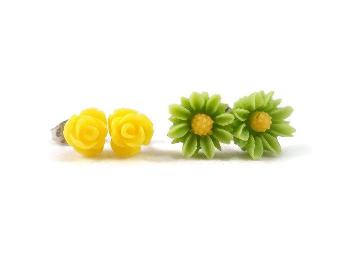 Tiny Stud Earrings Set, Yellow Rose Stud Earrings, Green Flower Stud Earrings, Cute Earrings for Sensitive Ears, Small Flower Earrings by foreverandrea on Etsy