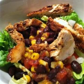Chicken Fiesta Salad - chicken breast halves, dry fajita seasoning, vegetable oil,