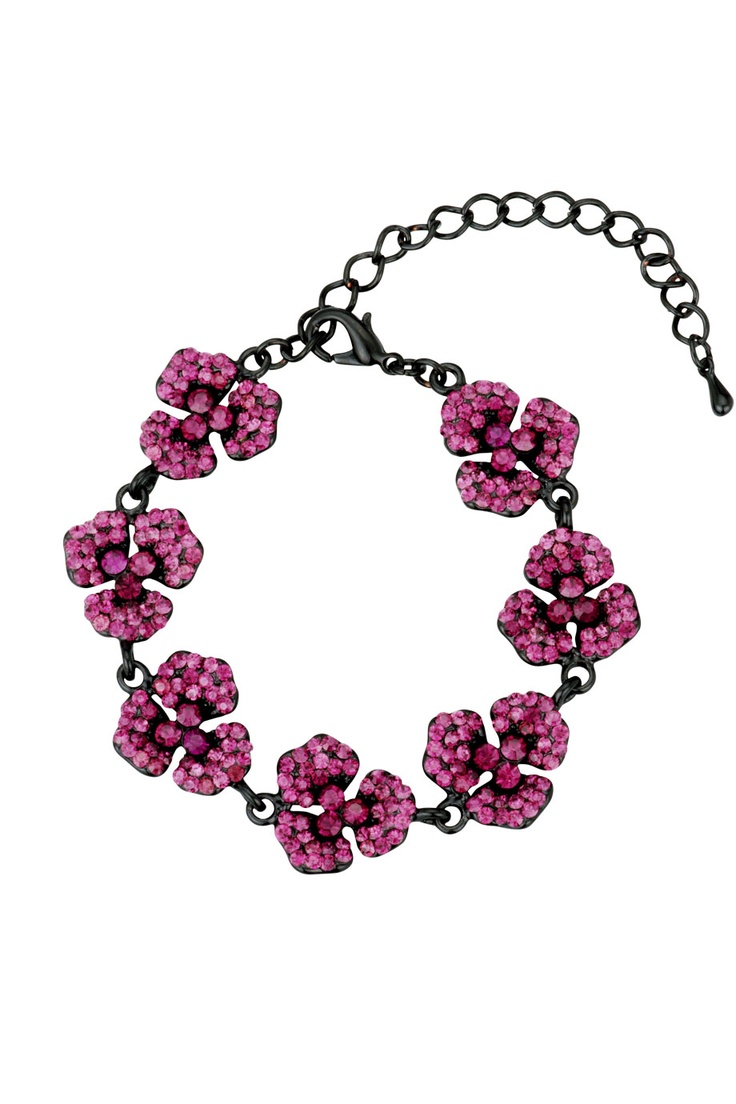 Romantiskt armband med blommor och lila glittrande stenar.  *Romantic black bracelet with purple glittery cubic