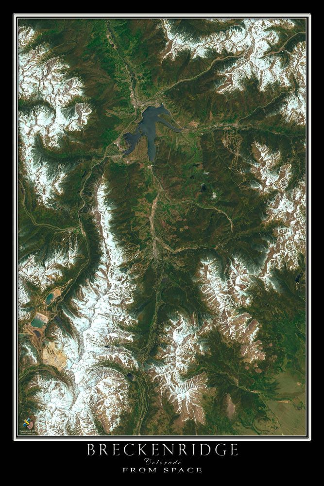 Breckenridge Colorado From Space Satellite Art Poster