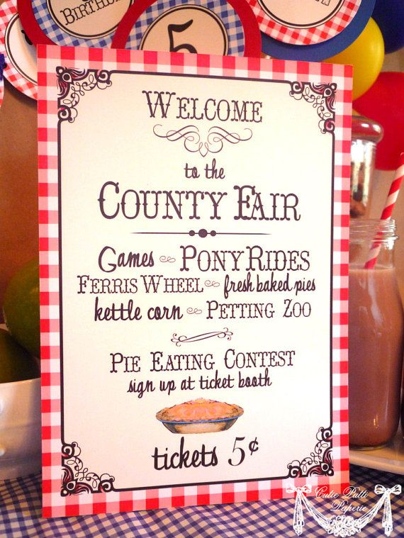 County Fair Party State Fair Party Country Fair Party - PRINTABLE WELCOME SIGN - Cutie Putti Paperie via Etsy