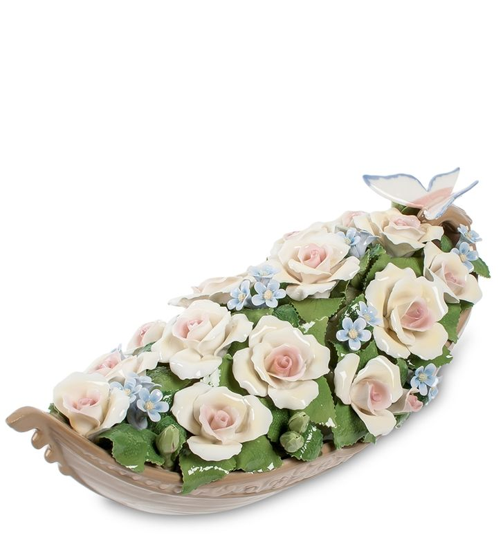 """Композиция """"Лодка с цветами"""" CMS-33/60 (Pavone)   Бренд: Pavone (Италия);      Страна производства: Китай;   Материал: фарфор;   Длина: 35 см;   Ширина: 15 см;   Высота: 13 см;   Вес: 1,8 кг;      #фарфор #цветы"""