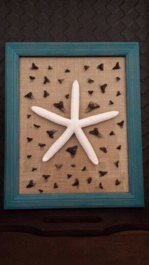 Made this shark teeth burlap picture frame with a starfish. It is the perfect project and display for our shark teeth!  Got the idea from another pinner's project but put my own twist on it.