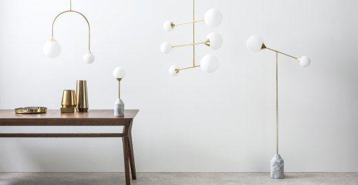 Faye Stehlampe, Messing und Marmor ► Neues Design für dein Zuhause! Entdecke jetzt Lampen in vielen Styles bei MADE.
